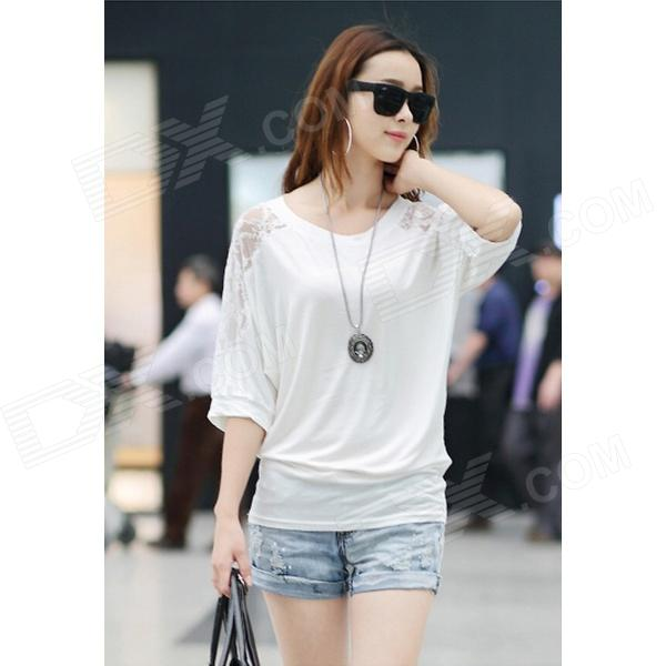 Women's Fashionable Cotton + Lace Loose Bat Sleeve T-Shirt - White (XL)