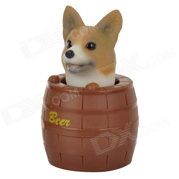 HSQ001 Essence Barrel Shaped Shaking Head Dog Style Plastic + Iron Ornament - Brown