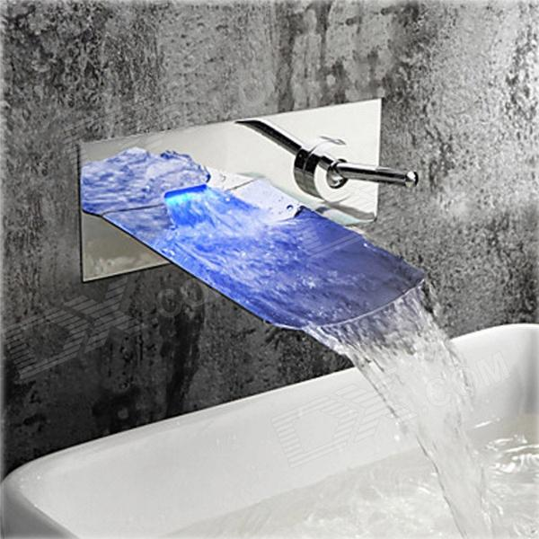 Stylish Chrome Finish Color Changing LED Waterfall Wall Mount Bathroom Sink Faucet