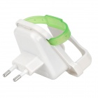 5V 1A EU Plug AC Power Adapter w/ Mobile Phone Holder - White + Green (AC 100~240V)