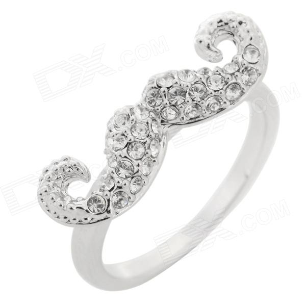 T060 Crystal Studded Mustache Style 18K Gold Plated Zinc Alloy Ring - Silver (U.S Size:7)