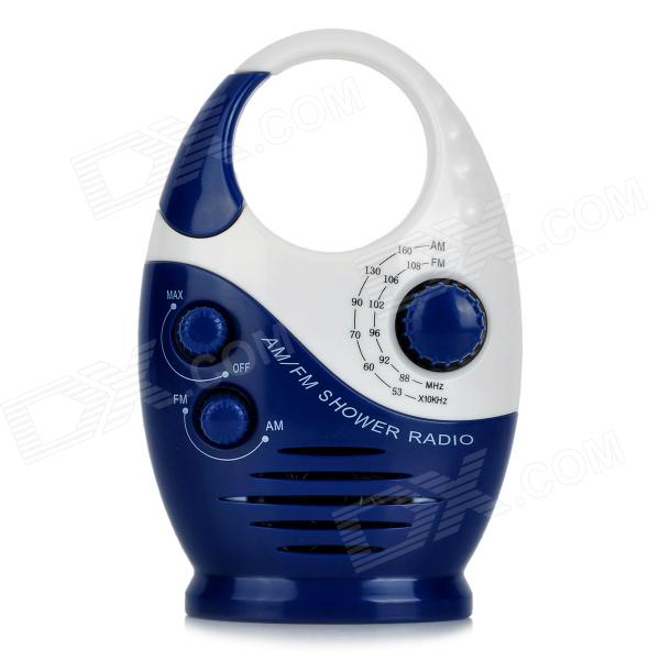 SAYIN SY-908 Mini IPX4 Shower Radio w/ FM / AM - Deep Blue + White choyo s2240w universal car front windshield suction cup holder bracket for cellphone black blue