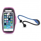 Running sport waterproof armband case + back-hang hands-free stereo headset for iphone 5s / 5