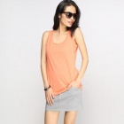 Catwalk88 Women's Cotton Summer Racer Back Vest Top - Orange (M)