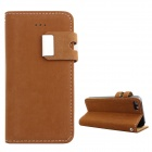 PU Leather Wallet Stand Design Case for IPHONE 5 / 5S - Brownish Yellow