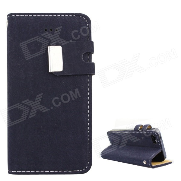 Protective PU Leather Wallet Stand Design Case for IPHONE 5 / 5S - Dark Blue pu leather wallet stand design case for iphone 5 5s black