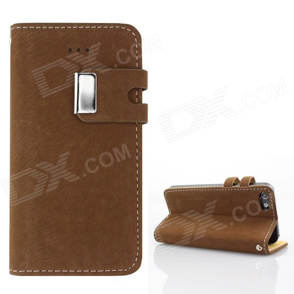 цены Protective PU Leather Wallet Stand Design Case for IPHONE 5 / 5S - Dark Brown