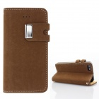 Protective PU Leather Wallet Stand Design Case for IPHONE 5 / 5S - Dark Brown