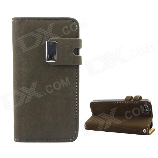 Protective PU Leather Wallet Stand Design Case for IPHONE 5 / 5S - Army Green pu leather wallet stand design case for iphone 5 5s black