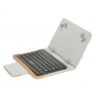 "Pin-striped Flip-open Case w/ Stand / Bluetooth Keyboard for 7~8"" Tablet PC - Black + Rose Gold"