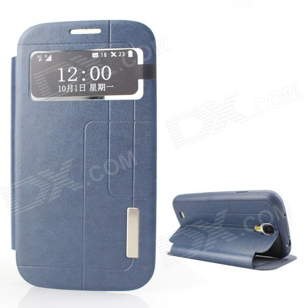Protective PU Leather + TPU Case Cover Stand w/ Visual Window for Samsung Galaxy S4 - Deep Blue temei protective pu leather tpu case stand w visual window for samsung galaxy note 3 white