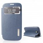 Protective PU Leather + TPU Case Cover Stand w/ Visual Window for Samsung Galaxy S4 - Deep Blue