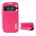 Protective PU Leather + TPU Case Cover Stand w/ Visual Window for Samsung Galaxy S4 - Deep Pink