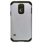 Fashionable Superior Slim Armor Protective Back Case for Samsung Galaxy S5 - Silver White + Black