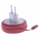 AC Power Adapter w/ Micro USB Charging Cable for Samsung / HTC - Red + White (EU Plug / 100~240V)
