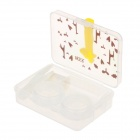 G200092 Creative Lovely Giraffe Style Portable Plastic Contact Lenses Case Set - Transparent + Brown