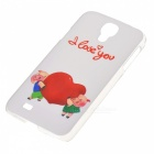 Kinston Happy Cartoon Pattern Protective Plastic Hard Back Case for Samsung Galaxy S4 i9500 - White