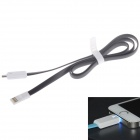 LED USB Male to Micro USB Male Data Sync / Charging Flat Cable for Samsung / HTC / Nokia - Black