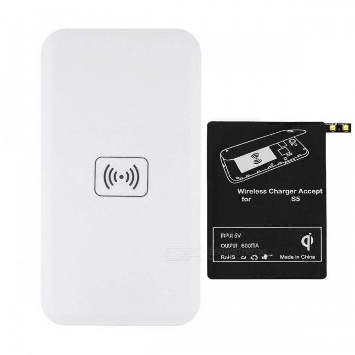 QI Wireless Charger Pad w/ Wireless Charger Receiver for Samsung Galaxy S5 - White + Black