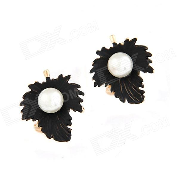 FenLu Women's Fashionable Maple Leaf Shaped Artificial Pearl Inlaid Earrings - Black (Pair)