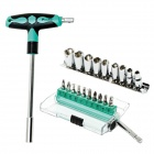 Pro'skit SD-9701M 20-in-1 T-handle Screwdriver Sockets w/ Bits Set - Green + Black