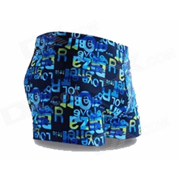 K8001 Men's Polyester + Spandex Boxer Swimming Trunks - Blue + Black (L)