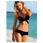 JK51 Sexy Nylon + Spandex Bikini Set Swimsuit  - Black (M)