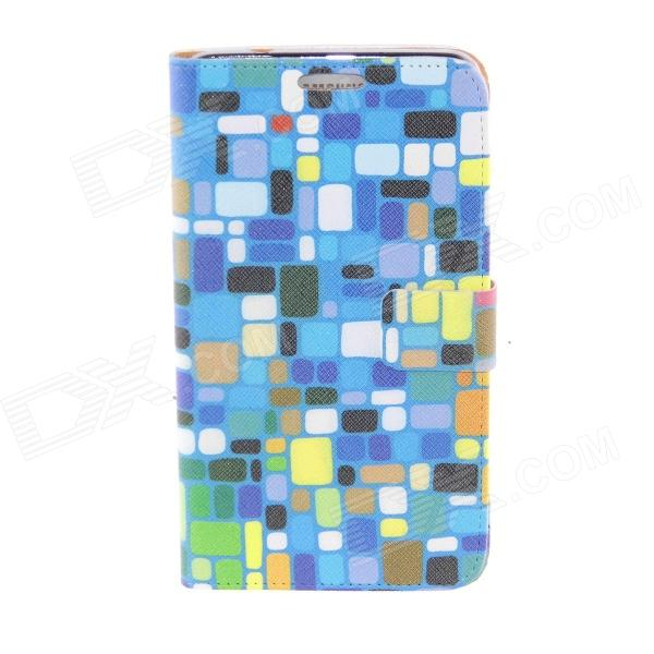 Kinston Colorful Square Pattern PU Leather Full Body Case for Samsung Galaxy Note 3 - Blue + Black kinston colorful star pattern pu leather full body case for samsung galaxy note 3 white pink
