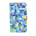 Kinston Colorful Square Pattern PU Leather Full Body Case for Samsung Galaxy Note 3 - Blue + Black