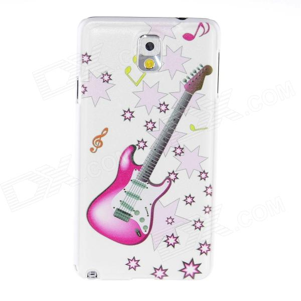 Kinston Guitar Pattern Plastic Hard Case for Samsung Galaxy Note 3 - White + Pink kinston teenage girl pattern plastic hard case for samsung galaxy note 3 coffee white