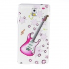 Kinston Guitar Pattern Plastic Hard Case for Samsung Galaxy Note 3 - White + Pink