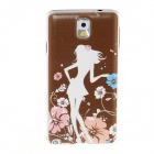 Kinston Teenage Girl Pattern Plastic Hard Case for Samsung Galaxy Note 3 - Coffee + White