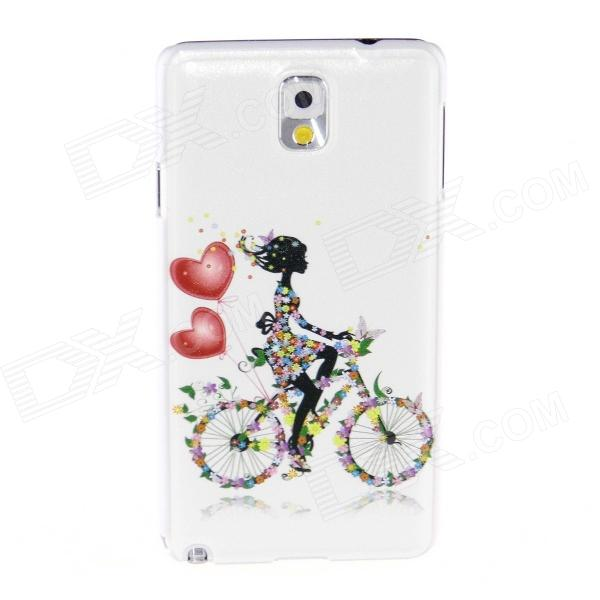 Kinston Bike Girl Pattern Plastic Hard Case for Samsung Galaxy Note 3 - White + Black kinston teenage girl pattern plastic hard case for samsung galaxy note 3 coffee white
