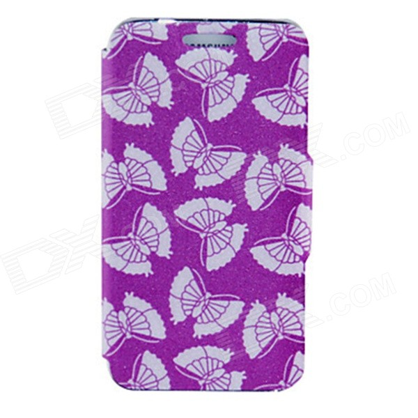 Kinston Beautiful Moth Pattern PU Leather Full Body Case for Samsung Galaxy S5 - Deep Pink + White