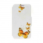 Kinston Butterfly Pattern PU Leather Full Body Case for Samsung Galaxy S5  - White + Yellow
