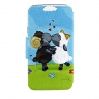 Kinston Goat Love Pattern PU Leather Full Body Case for Samsung Galaxy S5 - Green + Blue