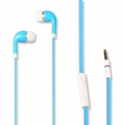 Universal 3.5mm In-Ear Stereo Earphone w/ Microphone, Dust Plug for Cellphone, MP3, PC, PSP - Blue