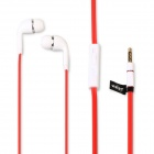 Universal 3.5mm In-Ear Stereo Earphone w/ Microphone, Dust Plug for Cellphone, MP3, PC, PSP - Red