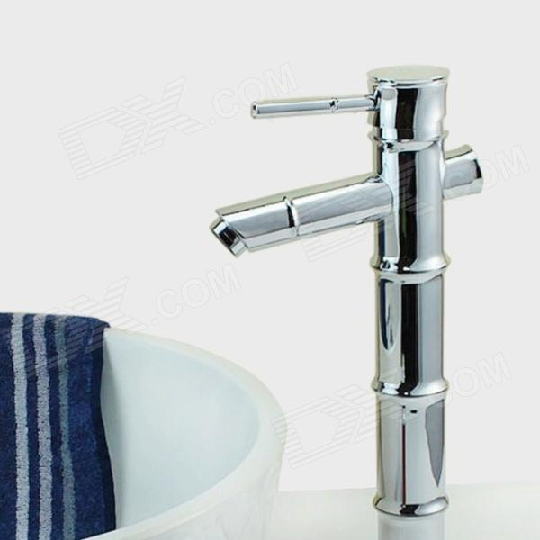 Bamboo Shaped Chrome Finish Brass Bathroom Sink Faucet - SilverBath Faucets<br>Form  ColorSilverModelYDL-F-0554MaterialBrassQuantity1 DX.PCM.Model.AttributeModel.UnitFinishChromeFaucet Spout MaterialBrassFaucet Body MaterialBrassFaucet Handle MaterialBrassStyleContemporaryOther FeaturesInstallation Type: Deck Mounted; <br>Features: Bamboo shape design; <br>Installation Holes: Single Holes; <br>Number of Switches: One; <br>Valve Type: Ceramic; <br>Cold and Hot Switch: Yes; <br>Standard 1/2 Threads; <br>Water outlet Height: 21.5cm; <br>Water outlet length: 10.5cm.Packing List1 x Faucet body 2 x Hose (50cm)2 x Sealing rings1 x Faucet fixed foot1 x Screw nut<br>