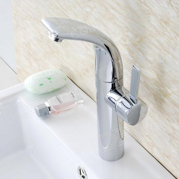 Solid Heightening 360° Rotatable Brass Bathroom Sink Faucet - Silver