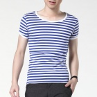 FENL Men's Slim Round Neck Short Sleeves T-Shirt - Blue + White (Size XL)