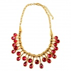 IN-Color Women's Water Drop Shaped Zinc Alloy Clavicle Necklace - Red