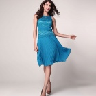 Fashionable Round Neck Sleeveless Backless Polyester Dress - Blue