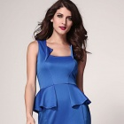 Fashionable Sleeveless Slim Polyester Dress - Blue (Size L)