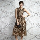 Fashionable Leopard Pattern Sleeveless Backless Polyester Dress - Black + Leopard Grain