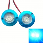 1-to-2 4W 300lm Blue Light LED Flash Lamp for Motorcycle - Blue + Transparent (2 PCS / 12V)