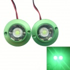 1-to-2 4W 300lm Green Light LED Flash Lamp for Motorcycle - Green + Transparent (2 PCS / 12V)