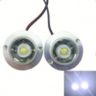 1-to-2 4W 300lm White Light LED Flash Lamp for Motorcycle - Silver White + Transparent (2 PCS / 12V)