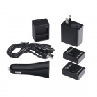 HighPro 2-Battery + AHDBT-301 / 302 Dual Charger w/ Car Charger for GoPro HD Hero 3 / 3+ - Black