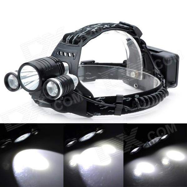 KC-018 Cree XM-L T6 + 2 x Cree XM-L R2 1800lm 4-Mode White Headlamp / Bike Light - Black 600lm 3 mode white bicycle headlamp w cree xm l t6 black silver 4 x 18650